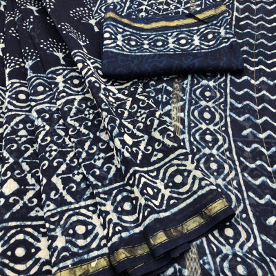 Womens Chanderi Silk Indigo Pattern Saree