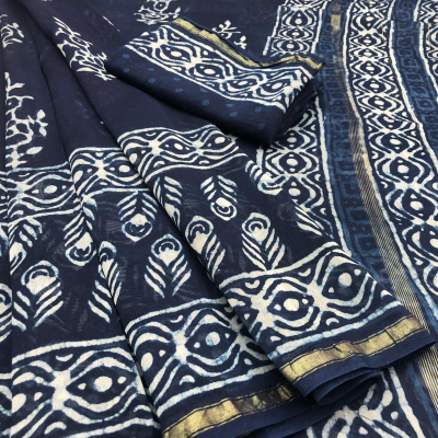 Trendy Chanderi Silk Indigo Print Saree with Blouse Piece