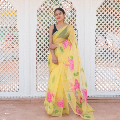 Attractive Yellow Pink Flower Hand Painted Organza Saree with Golden Touch