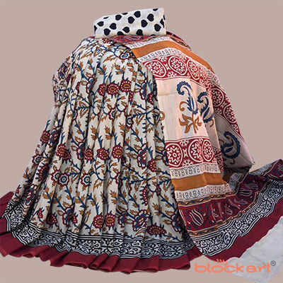 Traditional Bagru Mulmul Printed Saree with Perfect matched Blouse